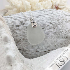 Clear White Sea Glass Pendant