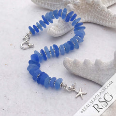 Cornflower Blue Sea Glass Bracelet