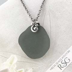 Gray Sea Glass Pendant