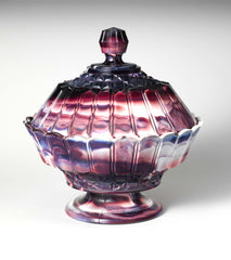 Purple Marble Glass Covered Bowl