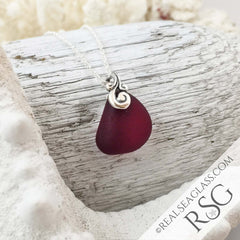 Deep Red Sea Glass Sterling Ocean Waves Pendant
