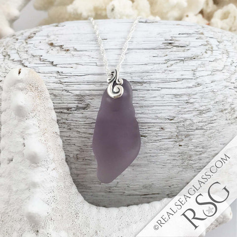 Large Sun Purple Sea Glass Pendant