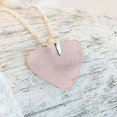 Heart Shaped Pink Sea Glass Necklace