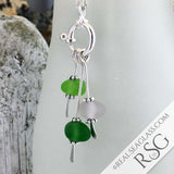 Shades of Green Sea Glass Sea Spray Necklace