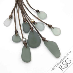 Real Sea Glass Rare Gray Sea Glass and Leather Necklaces
