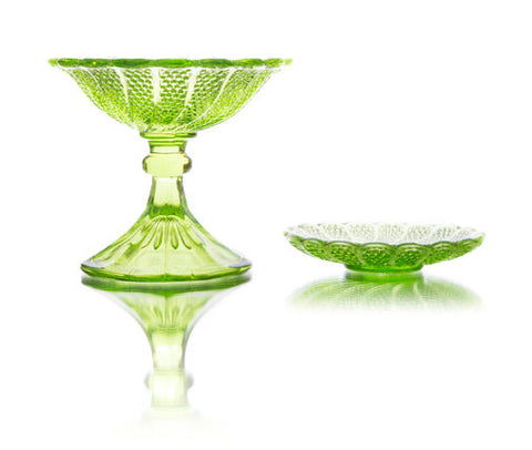 Depression UV Glass Candy Dishes