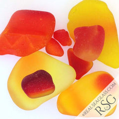 Red Yellow Orange and Amberina Sea Glass