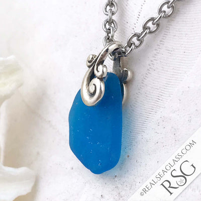 Electric Turquoise Ocean Waves Sea Glass Pendant