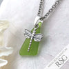 Lime Green Triangle Sea Glass Pendant with Dragonfly Charm
