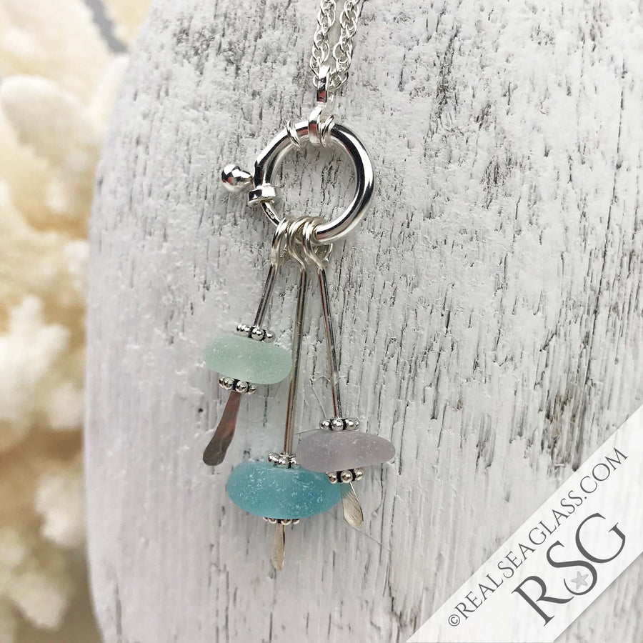 Summer Sunrise Sea Glass Sea Spray Sterling Silver Necklace