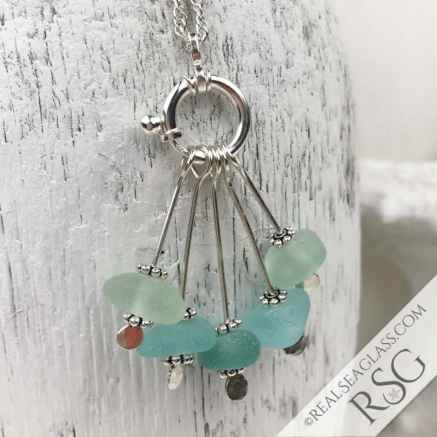 Sprays of Aqua & Seafoam Sea Glass Sea Spray Sterling Silver Necklace