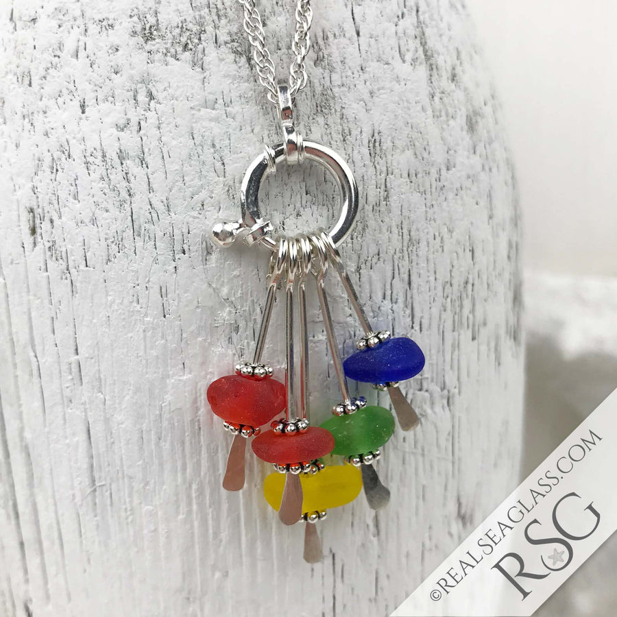 Amazing Bright Rainbow Sea Glass Sea Spray Sterling Silver Necklace