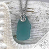 Bright Aqua Sea Glass Necklace Ocean Waves Sterling Silver