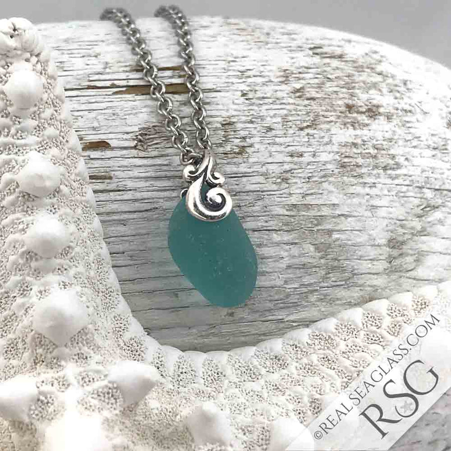 Bright Aqua Sea Glass Necklace with Sterling Ocean Waves