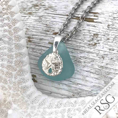 Aqua Sea Glass Necklace with Sterling Silver Sand Dollar