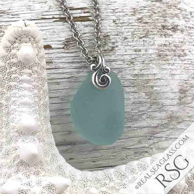 Thick, Curved Aqua Sea Glass Necklace with Sterling Silver Ocean Waves