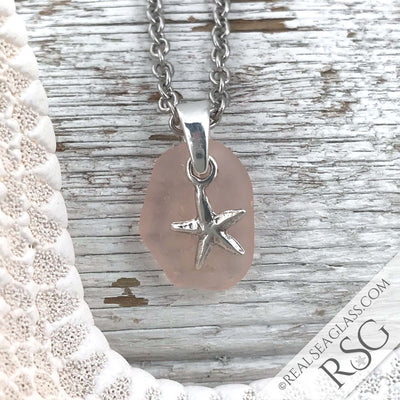 Soft Pink Sea Glass Pendant with a Starfish Charm