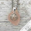 Thick Blush Pink Sea Glass Pendant with a Sand Dollar Charm | #1058