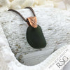 Deep Olive Black on Bronze Sea Glass Pendant
