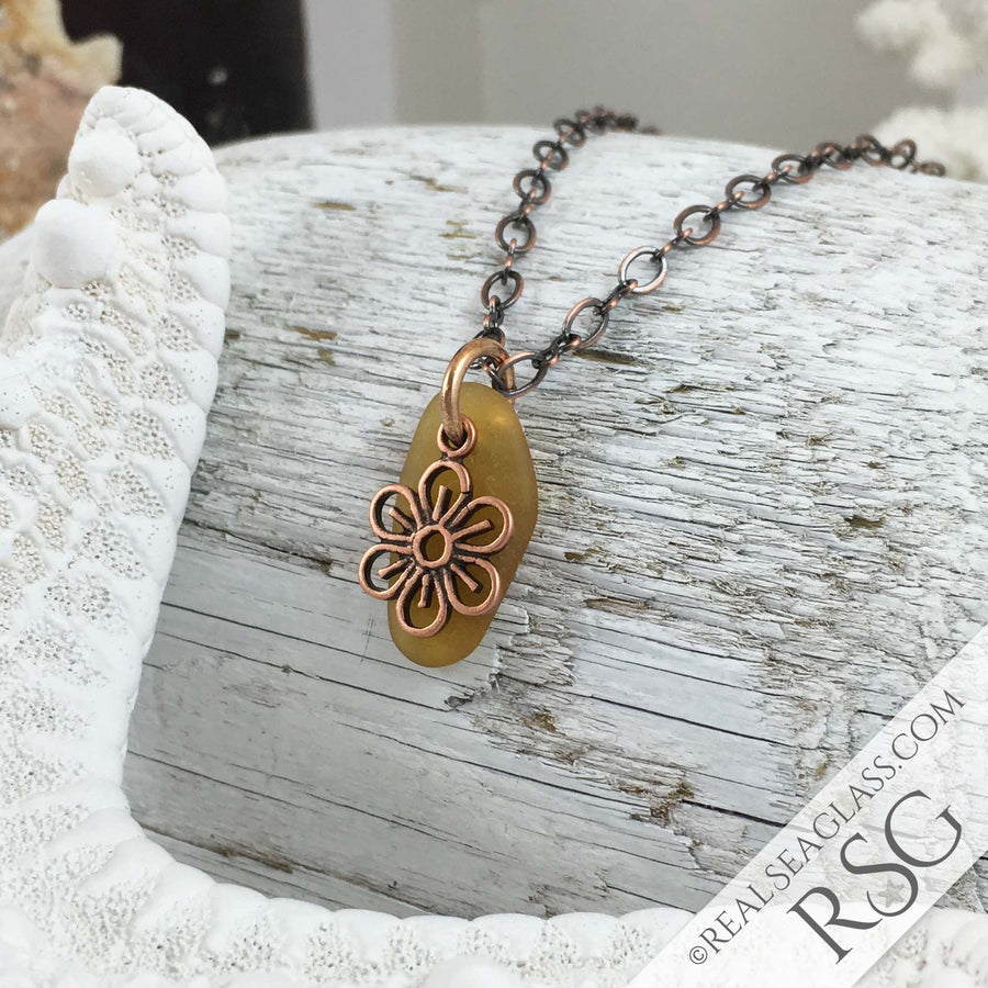 Light Bright Amber on Bronze Sea Glass Pendant with Flower Charm