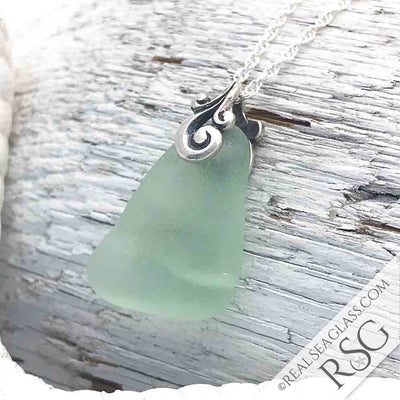 Triangle Seafoam Sea Glass Ocean Waves Necklace