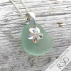 Curved Seafoam Sea Glass Necklace with Plumeria Charm | #1095