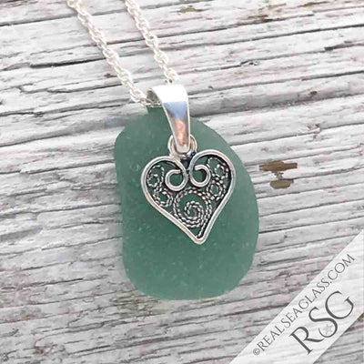 Deep Seafoam Sea Glass Necklace with Filigree Heart Charm