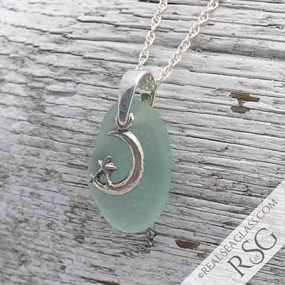 Bright Light Seafoam Sea Glass Necklace with Moon & Star Charm
