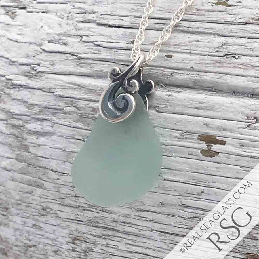 Bluish Seafoam Sea Glass Ocean Waves Necklace