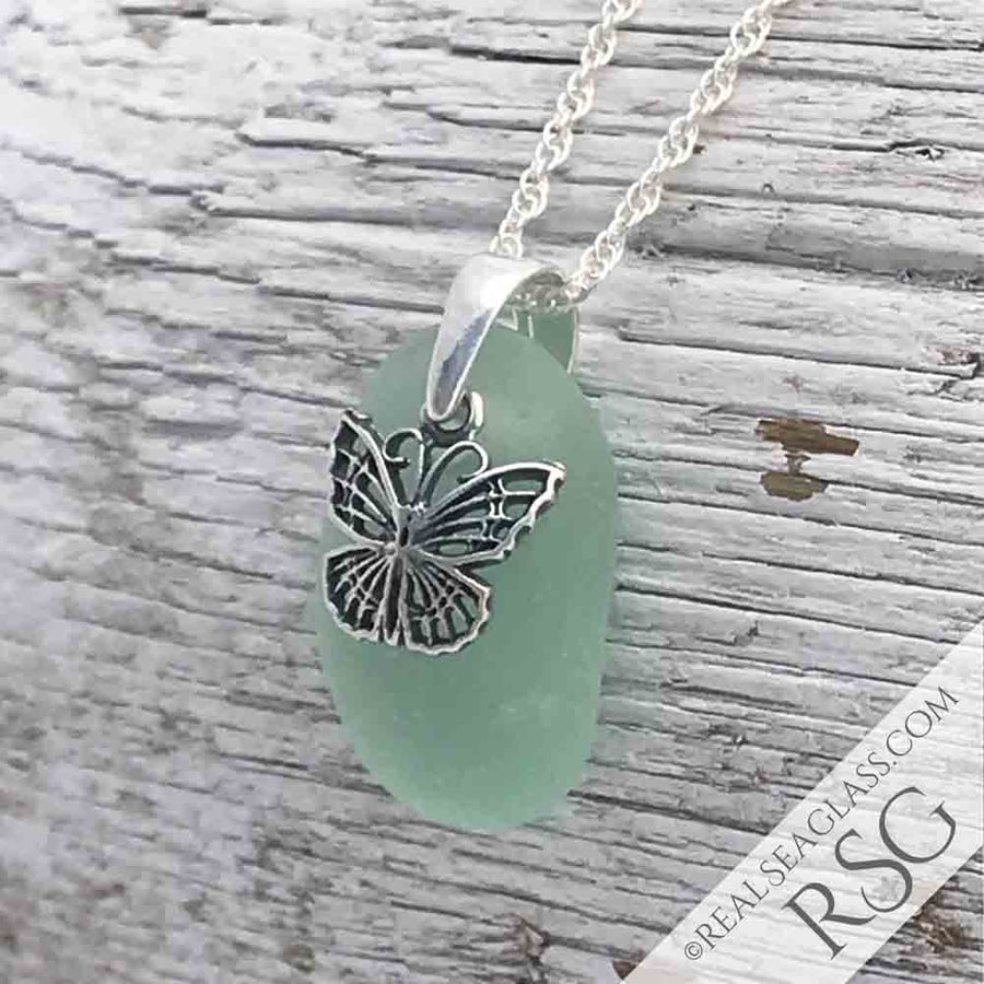 Curvy Seafoam Sea Glass Necklace with Butterfly Charm