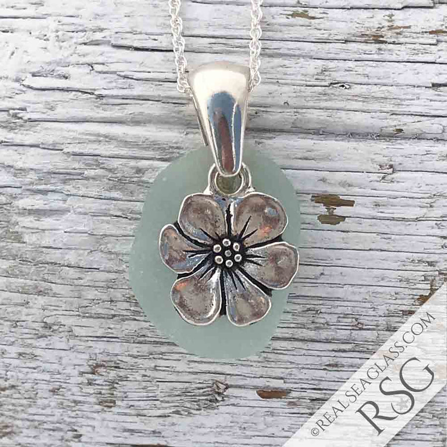 Seafoam Sea Glass Necklace with Cabbage Rose Charm | #1102