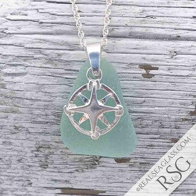 Almost Aqua Seafoam Sea Glass Necklace with Compass Charm
