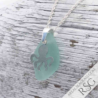 Aqua Sea Glass Necklace with Sterling Silver Octopus Charm