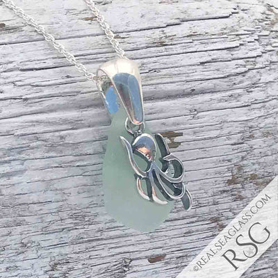 Ice Aqua Sea Glass Necklace with Sterling Silver Octopus Charm