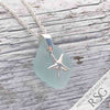 Frosty Ice Aqua Sea Glass Necklace with Sterling Silver Starfish Charm