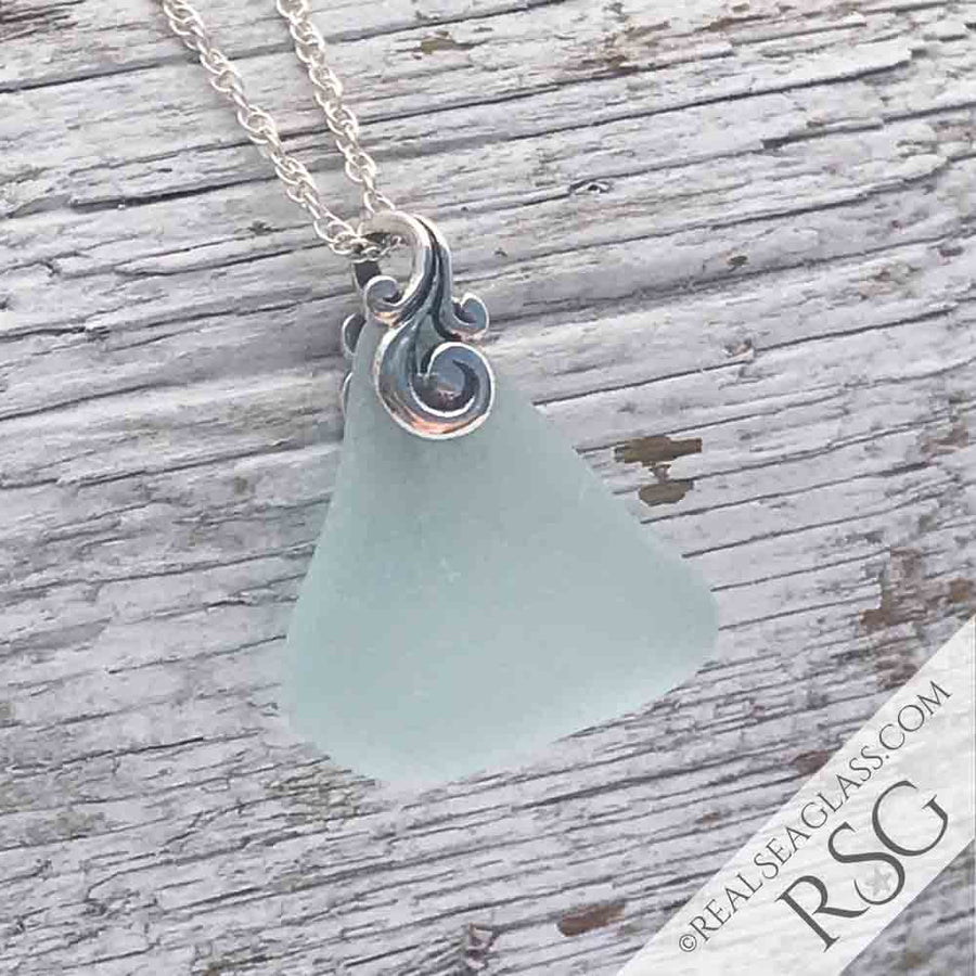 Ice Aqua Sea Glass Ocean Waves Necklace