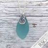 Bright Aqua Sea Glass Taper Ocean Waves Necklace