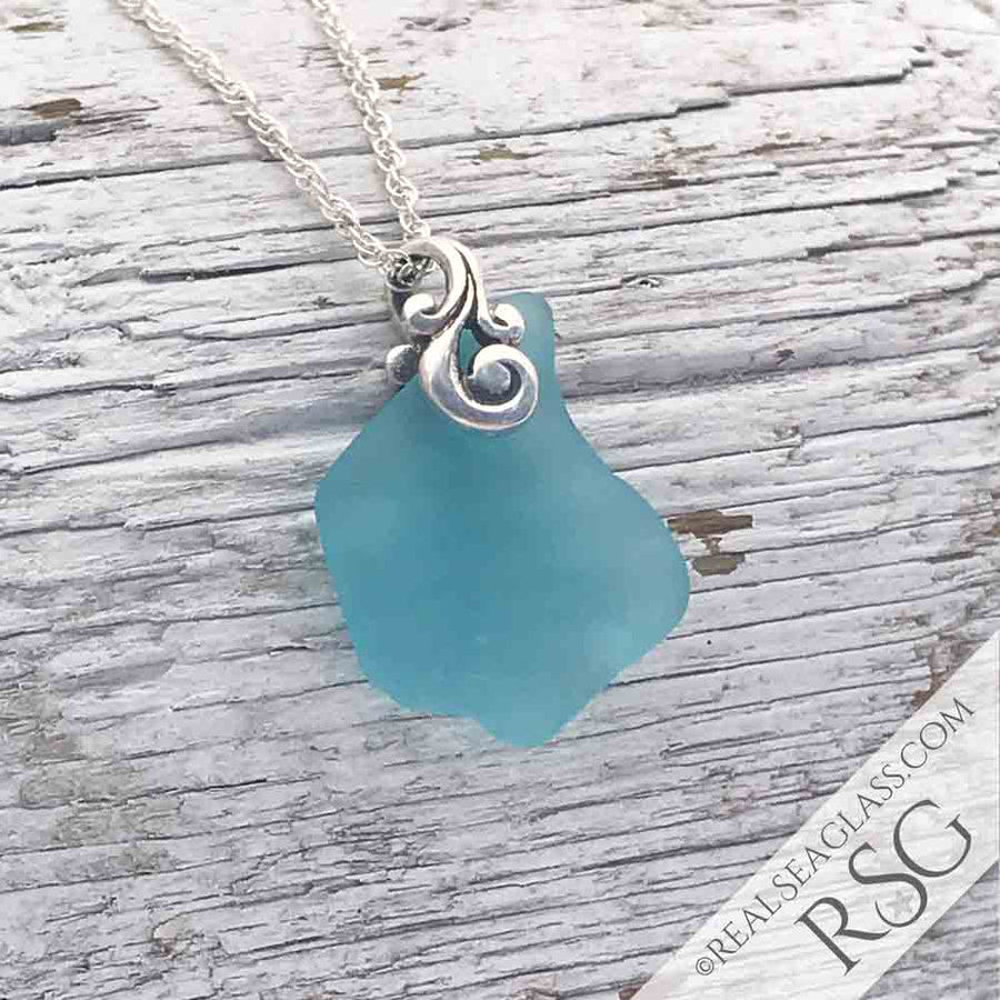 A Splash of Bright Aqua Sea Glass Ocean Waves Necklace