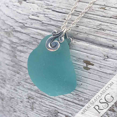 Thick & Glowy Bright Aqua Sea Glass Ocean Waves Necklace