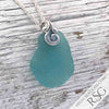 100-Year-Old Bright Aqua Sea Glass Ocean Waves Necklace