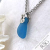 Shaded Turquoise Ocean Waves Sea Glass Pendant