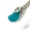 Green Glow Turquoise Ocean Waves Sea Glass Pendant