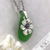 Bright Green Sea Glass Pendant with a Cabbage Rose Charm