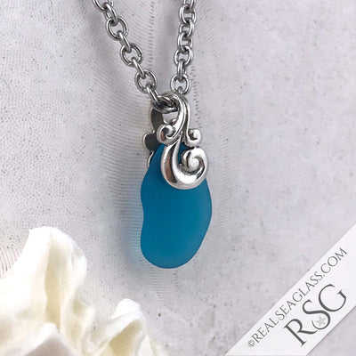 Bright Turquoise Taper Ocean Waves Sea Glass Pendant