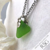 Legendary Lime Green Sea Glass Heart Pendant | #1168