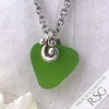 Legendary Lime Green Sea Glass Heart Pendant