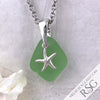 Deep Seafoam Sea Glass Pendant with Frosted Starfish Charm