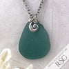 Huge True Teal Ocean Waves Sea Glass Pendant