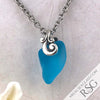 Crazy Thick Bright Turquoise Ocean Waves Sea Glass Pendant