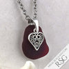 Large, Deep Red Sea Glass Pendant with Filigree Heart Charm